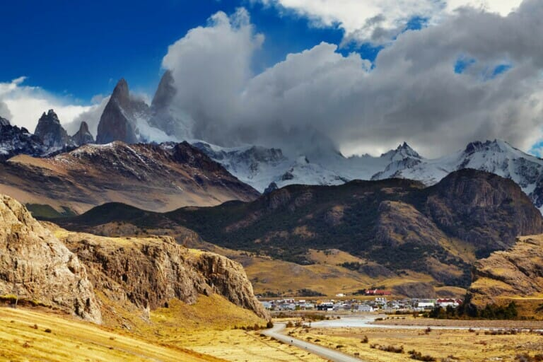 Mountains surround a tiny village in Argentina's Patagonia