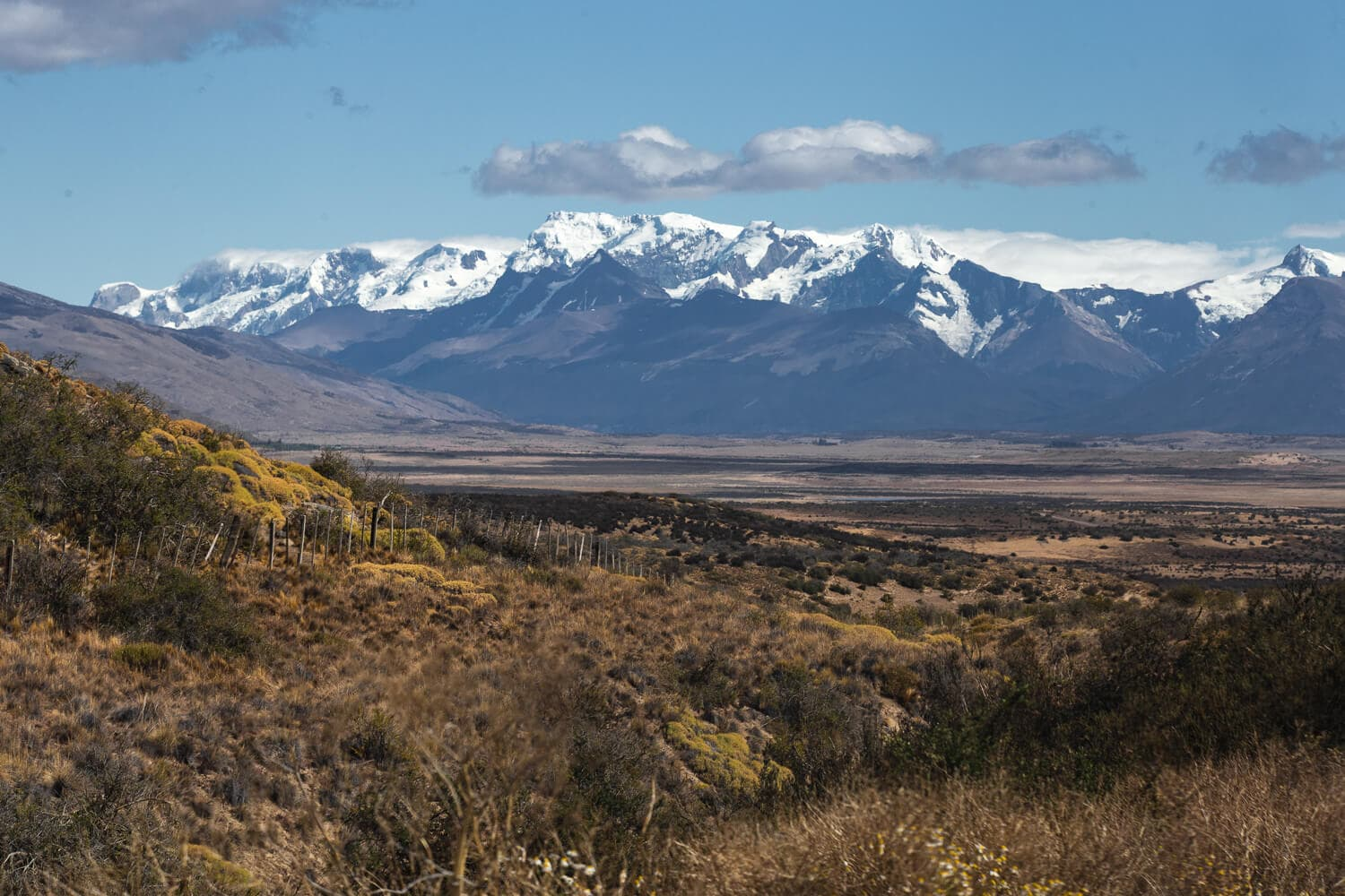 Snow capped mountains and a blue sky are in the background of rolling plains and pasture land.